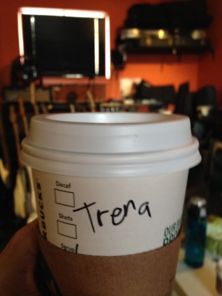 Trena at Starbucks. Not awake enough to care.